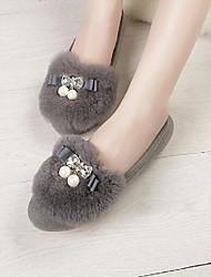 Women's Flats Fall Winter Other Suede Fur Casual Flat Heel Black Red Gray Walking