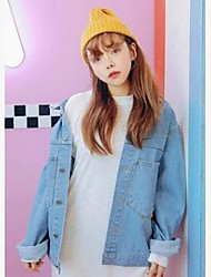 Women's Casual/Daily Simple Denim Jackets,Solid Standing Collar Long Sleeve Fall Blue Cotton Medium