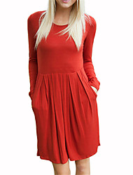 Spring Women Going out Casual Dresses Solid Color Round Neck Long Sleeve Loose Dress Blue/Red