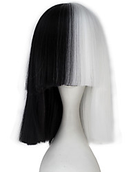 High Temperature Fiber Women Synthetic Short Straight Half White and Black Color Cosplay Costume Wig