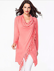 Women's Casual V Neck Tassel Long Sleeve Cotton Sweatshirt