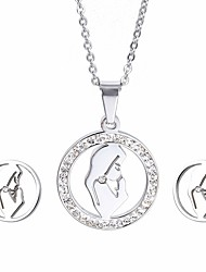 Kalen New Fashion  Ladies Rhinestone Jewelry Sets Lucky Stainless Steel Praying Girls Pendant Necklace And Earrings Sets For Women Cheap Gifts