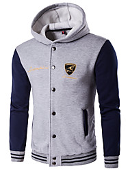 Men's Plus Size Casual/Daily Active Simple Hoodie Jacket Color Block Fleece Lining Micro-elastic Cotton Long Sleeve Fall Winter