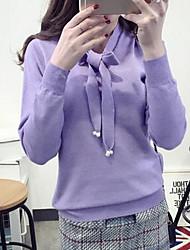 Damen Standard Pullover-Ausgehen Lässig/Alltäglich Einfach Solide Lila Rundhalsausschnitt Langarm Baumwolle Frühling Herbst Mittel Dehnbar