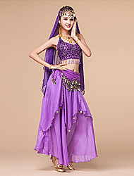 Belly Dance Outfits Women's Performance Polyester / Spandex Coins 4 Piece Natural Dance Costumes