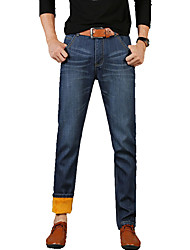 Men's Plus Size Straight / Slim Jeans Pants,Casual/Daily Vintage / Simple / Street chic Solid Low Rise Zipper / Button Cotton