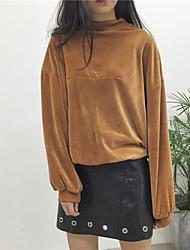 signer creux automne et en hiver le vent paresseux couleur pure en velours à col haut blouse