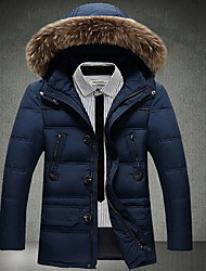 Men's Down Coat,Simple Casual/Daily Solid-Cotton White Duck Down Long Sleeve Blue / White / Black