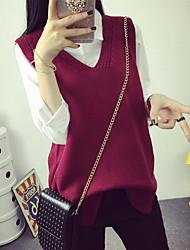 Damen Standard Pullover-Ausgehen Lässig/Alltäglich Einfach Niedlich Solide Rot Grau Lila Hemdkragen Langarm Acryl PolyesterFrühling
