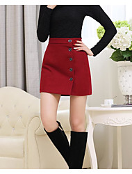 Women's Pencil Solid Skirts,Casual/Daily Sexy Low Rise Above Knee Zipper Polyester Micro-elastic Summer