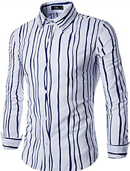 Men's Casual/Daily Simple Shirt,Striped Square Neck Long Sleeve Blue / Black / Brown / Multi-color Cotton