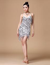 Danse latine Tenue Femme Spectacle Polyester Paillété 1 Pièce Robe