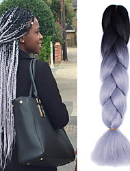 "1 Pack Black Ombre Light Grey Crochet 24"" Yaki Kanekalon Fiber 100g 2 Tone Jumbo Braids Synthetic Hair"