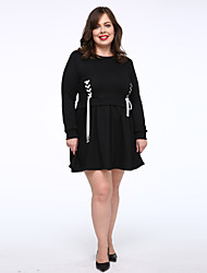 Women's Plus Size / Casual/Daily Simple T Shirt Dress,Solid Round Neck Above Knee 3/4 Length Sleeve Black Cotton Autumn Mid Rise