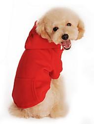 Кошка Собака Толстовки Одежда для собак На каждый день Спорт Сплошной цвет Черный Оранжевый Серый Красный Серый/Красный