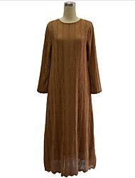 Swing Robe Femme Grandes Tailles Vintage,Couleur Pleine Col Arrondi Maxi Manches Longues Noir / Marron / Vert Polyester AutomneTaille