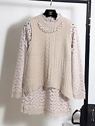 Women's Casual/Daily Simple Lace / Sweater Dress,Patchwork Round Neck Above Knee Long Sleeve Pink / White / Gray Polyester Spring Mid Rise