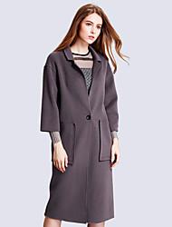 Damen Solide Einfach Ausgehen / Lässig/Alltäglich Mantel,Herbst / Winter V-Ausschnitt Langarm Grau Mittel Polyester