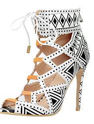 Damen-Sandalen-Lässig / Party & Festivität-Kunstleder-Stöckelabsatz-Passende Schuhe & Taschen-Weiß