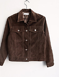 Women's Casual/Daily Simple Jackets,Solid Shirt Collar Long Sleeve Spring / Fall Brown Polyester Medium