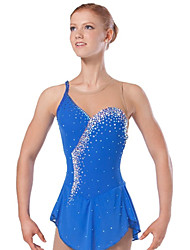 Ice Skating Dress Women's Sleeveless Skating Dresses High Elasticity Figure Skating Dress Breathable / Comfortable Lace Elastane Blue