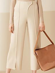 Feminino Perna larga Chinos Calças-Cor Única Casual Simples Cintura Alta Botão Lã Micro-Elástico Com Molas / Verão