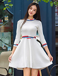I LOVE KNITTING Women's Casual/Daily Simple A Line DressStriped Round Neck Above Knee Long Sleeve White Wool / Cotton Fall Mid Rise Inelastic Medium