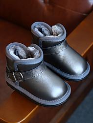 Boys' Boots Comfort Snow Boots Cowhide Winter Casual Comfort Snow Boots Flat Heel Black Gray Flat