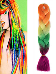 "Orange Yellow Olivine Rose Ombre Crochet 24"" Yaki Kanekalon Fiber 100g 4 Tone Jumbo Braids Synthetic Hair"