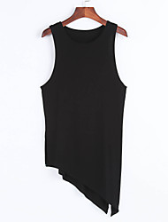 Women's Asymmetrical Casual/Daily Street chic Split Irregular Slim Tank Top,Solid Round Neck Sleeveless