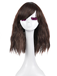 Jet Black Brown Loose Wave Middle Length Wig with Bang Heat Resistant Fashion Daily Wearing