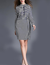 Women's Work Simple Sheath Dress,Striped Stand Above Knee Long Sleeve White Polyester Fall / Winter Mid Rise Micro-elastic Medium
