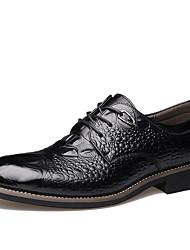 Masculino sapatos Couro Primavera Verão Outono Inverno Conforto Botas da Moda Oxfords Fru-Fru Cadarço Para Casual Festas & Noite Preto