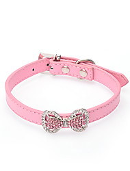 Cat / Dog Collar Adjustable/Retractable Solid / Rhinestone / Flower / Bowknot Red / Black / Blue / Pink / Rose PU Leather