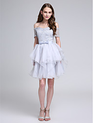 Knee-length Lace Bridesmaid Dress - Ball Gown Bateau with Bow(s)