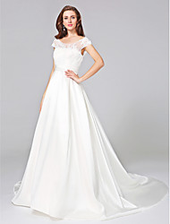 Lanting Bride® Ball Gown Wedding Dress - Elegant & Luxurious Chapel Train Scoop Mikado with Appliques / Beading / Ruche / Sash / Ribbon