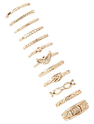 12 pcs/Set Vintage Style Gold Simple Band Triangle Midi Ring Set