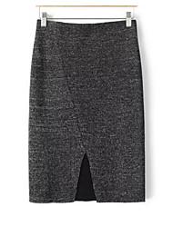 Damen Röcke,Bodycon einfarbig Chiffon,Ausgehen / Lässig/Alltäglich Sexy / Vintage / Einfach Mittlere Hüfthöhe Mini Elastizität Polyester