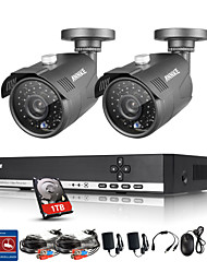 ANNKE 4CH 1080N AHD DVR 1.3MP 720P Outdoor Indoor IR Security Camera System 1TB HDD