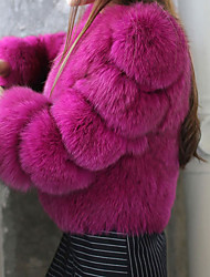 Women's Casual/Daily Simple Fur Coat,Solid Round Neck Long Sleeve Winter Pink / White / Black / Purple Faux Fur Thick
