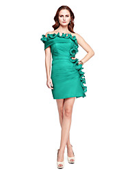 TS Couture® Prom  Cocktail Party Dress - Celebrity Style Sheath / Column Off-the-shoulder Short / Mini Chiffon withDraping / Flower(s) / Side