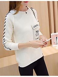 Damen Kurz Pullover-Lässig/Alltäglich Einfach Einfarbig Weiß Braun Grau Lila Rundhalsausschnitt Langarm Baumwolle Herbst Winter Mittel