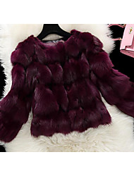 Women's Casual/Daily Simple Fur Coat,Solid Long Sleeve Red / Brown / Purple Fox Fur