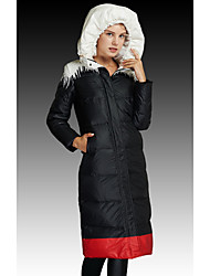 Women's Long Down Coat,Simple Going out / Casual/Daily / Holiday Solid-Polyester White Duck Down Long Sleeve Hooded Black