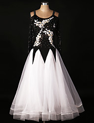 Ballroom Dance Dresses Training Spandex Organza Lace Draped Paillettes Appliques Crystals/Rhinestones 1 Piece Long Sleeve High Dress