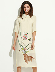 Women's Street chic Loose Thin Elegent Dress,Floral Stand Midi ½ Length Sleeve Pink / White / Beige Cotton / Linen Fall