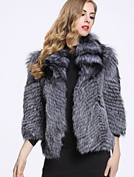 BF-Fur Style Women's Casual/Daily Sophisticated Fur CoatSolid Shirt Collar  Sleeve Winter Gray Fox Fur