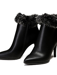 Women's Boots Winter Other Cowhide Fur Casual Stiletto Heel Black Burgundy