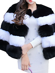 Women's Casual/Daily Simple Fur Coat,Striped Round Neck Long Sleeve Winter Black Faux Fur Thick