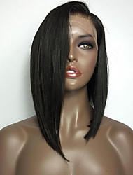 Natural Black Color Bob Straight Lace Front Wig With Baby Hair Heat Resistant Synthetic Hair Wigs For Women